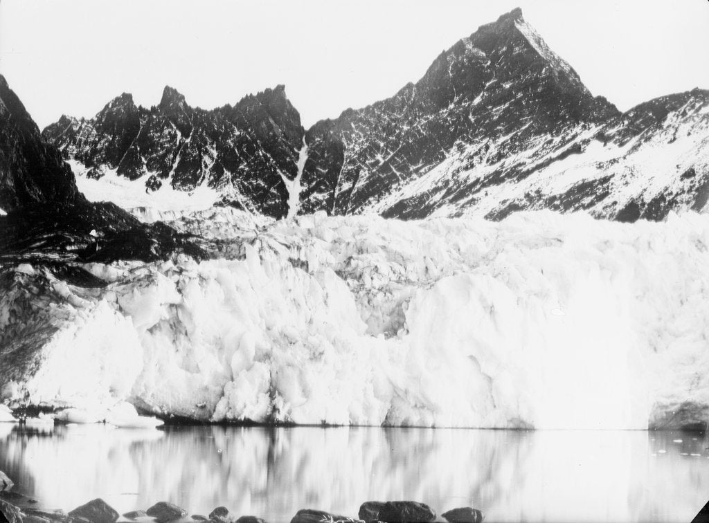 Detail of The ice cliffs of the snout of Hamberg Glacier, Moraine Fjord, South Georgia by unknown