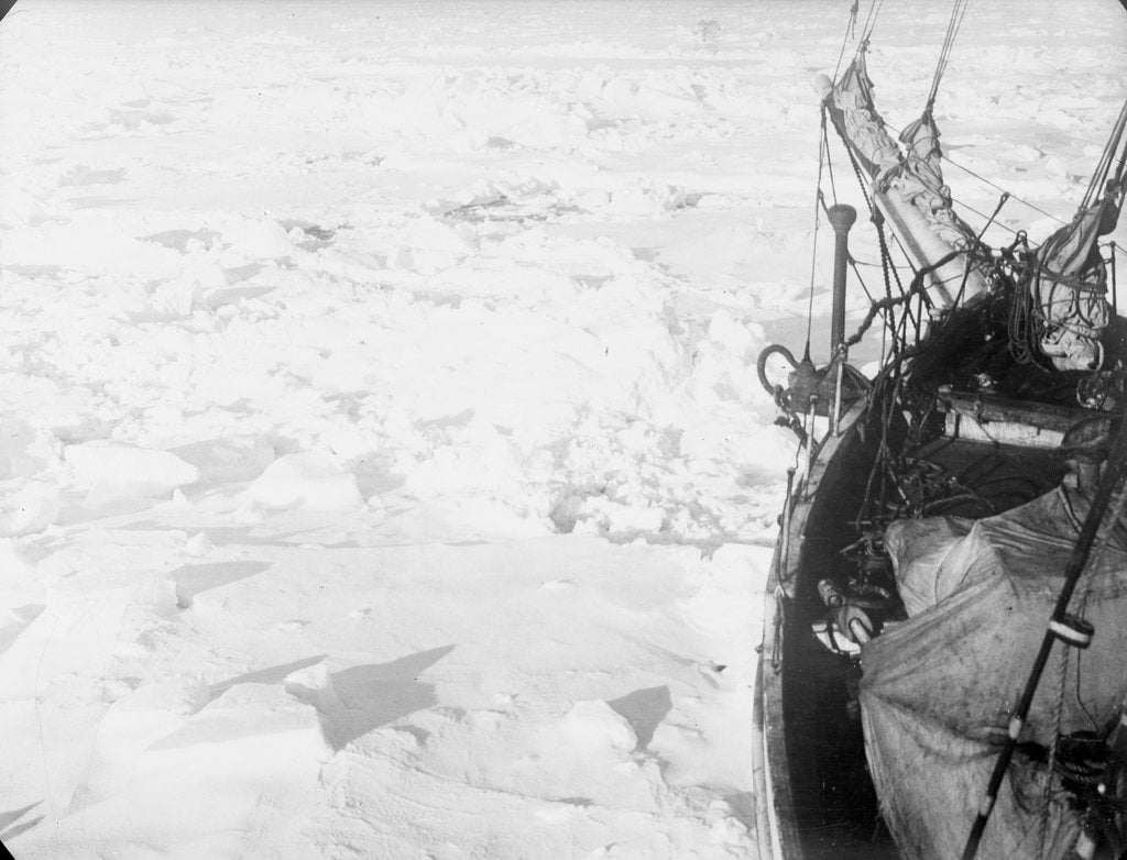 Detail of The ice floes, looking forward from the port bow of 'Endurance' (1912) by unknown