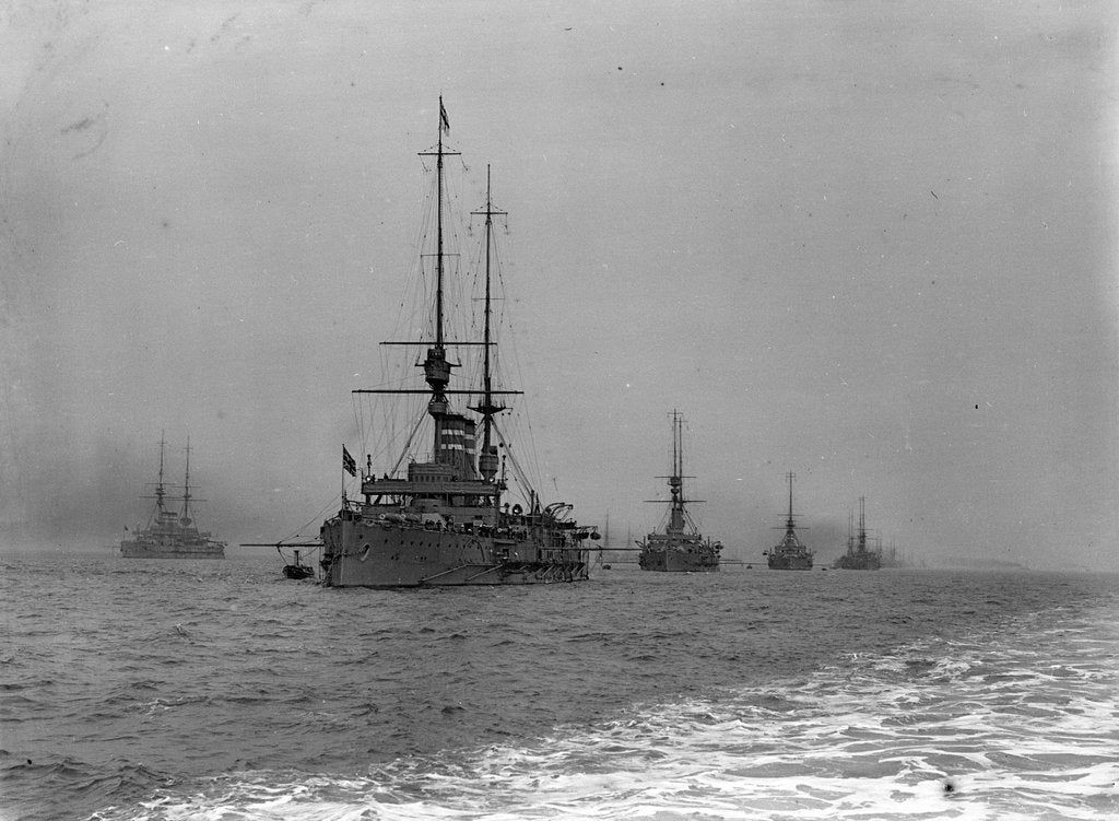 Detail of King's review of the fleet at Spithead, 1909 by unknown