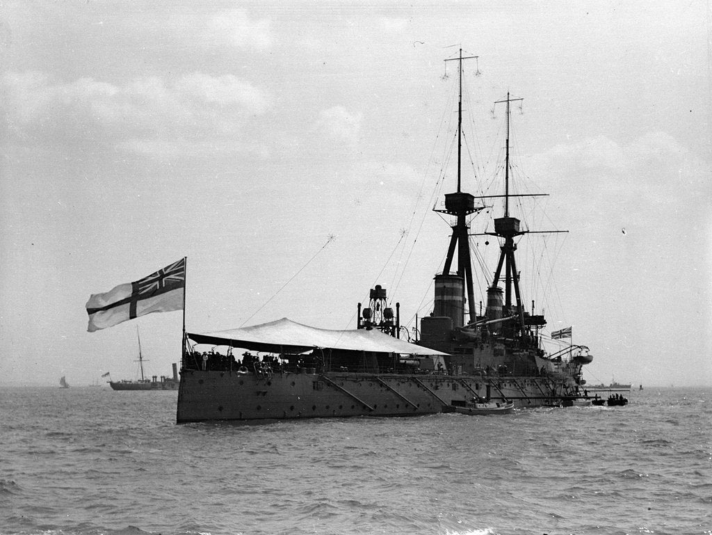 Detail of Battleship HMS 'Temeraire' (1907) at anchor at Spithead, with awning rigged aft by unknown