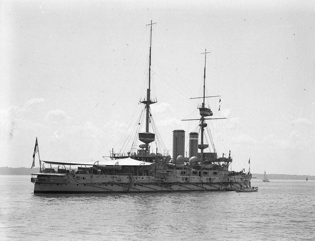 Detail of HMS 'Implacable' (1899) at anchor at Spithead, with awning rigged aft by unknown