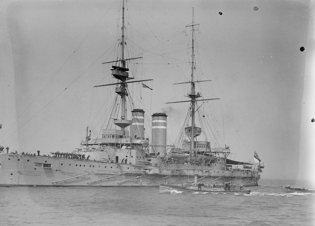 Detail of Battleship HMS 'Queen' (1902) at anchor at Spithead, with awning rigged aft by unknown