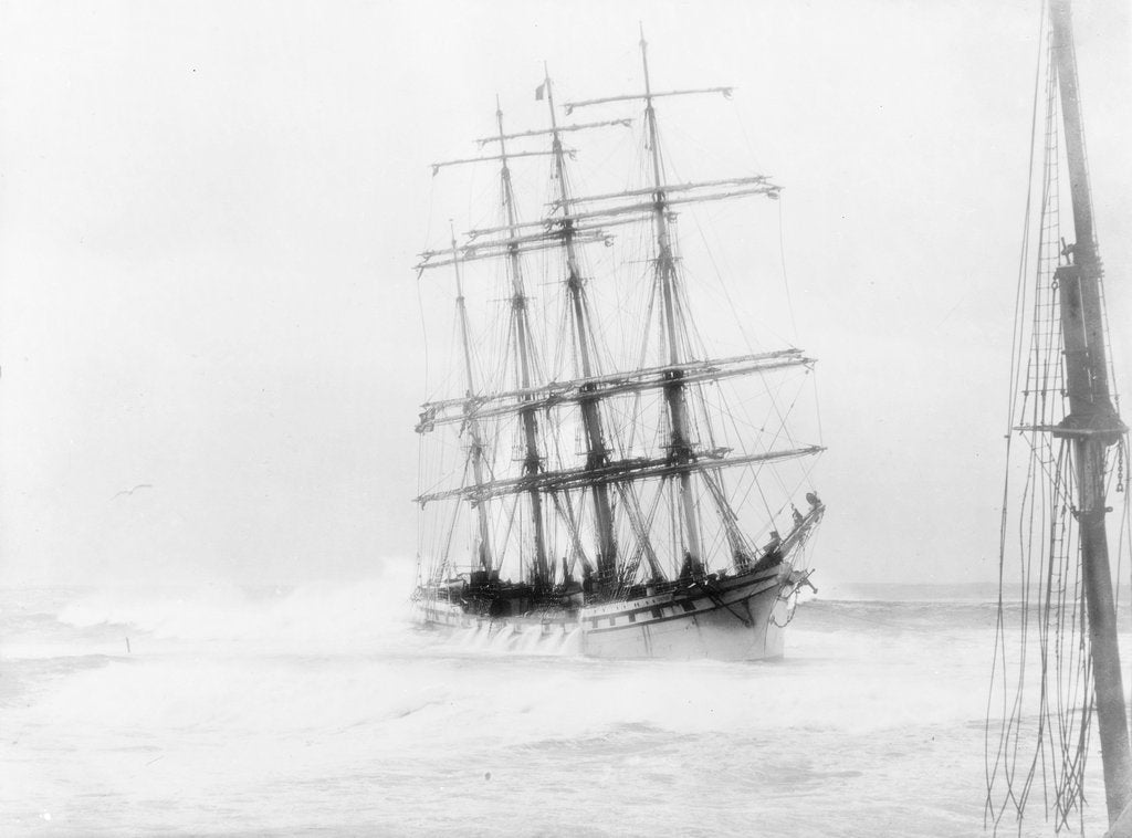 Detail of 4-masted barque 'Adolphe' (Fr, 1902) ashore on Oyster Bank, Newcastle, Australia by unknown