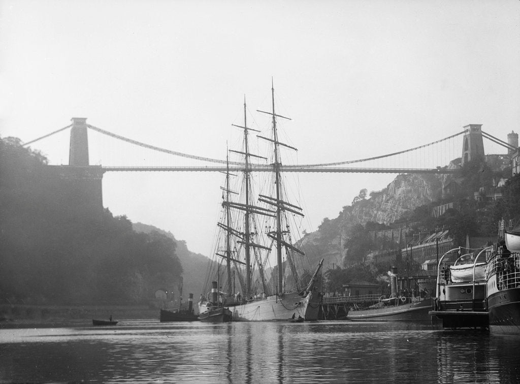 Detail of 'Elfrieda' (Ge, 1873) under tow off Hotwells Quay, Bristol, inward bound by unknown