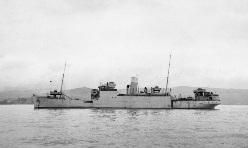 Detail of The 'Rathlin' (Br, 1936),  at anchor probably in the Clyde by unknown