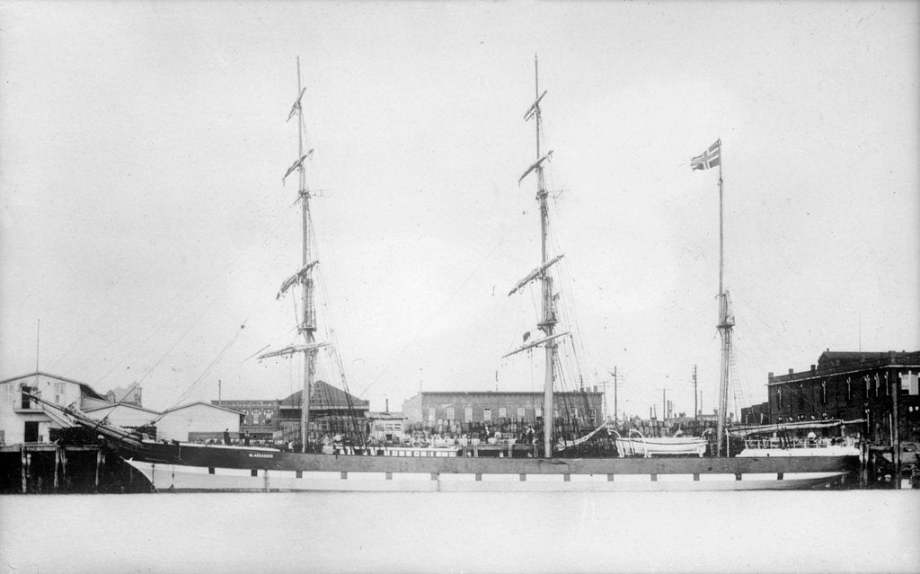 Detail of 3 masted barque 'Blackadder' (No, 1870), at quayside by unknown