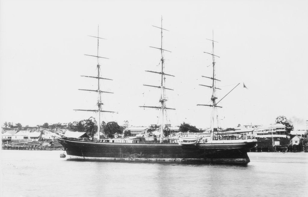 Detail of 3 masted ship 'Blackadder' (Br, 1870), J Willis & Son, at moorings in Brisbane, Australia by unknown