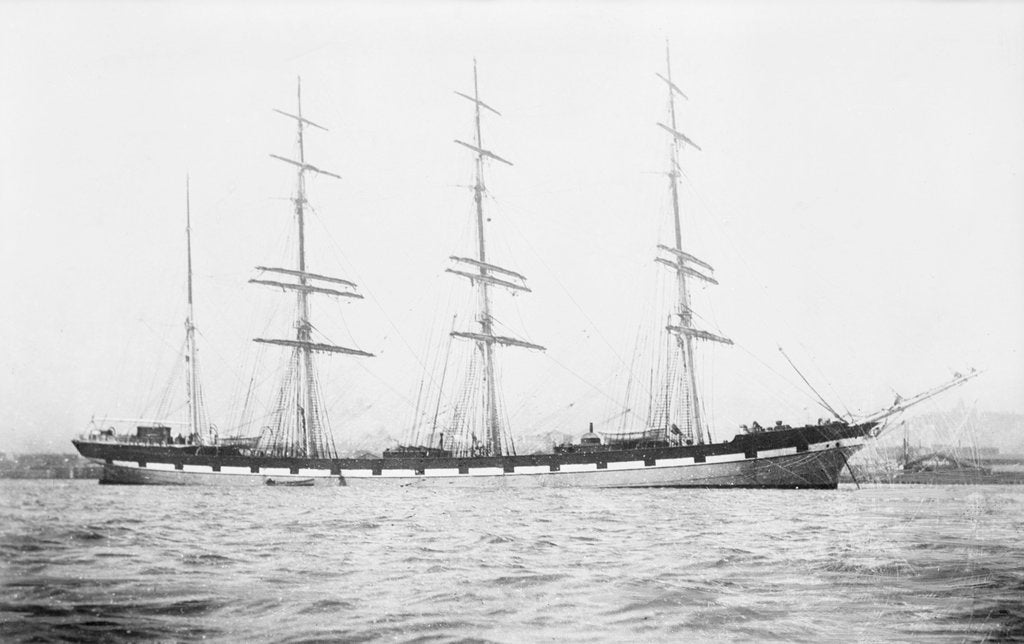 Detail of 4 masted barque 'Conishead' (Br, 1892), Bourke & Huntrods, at anchor by unknown
