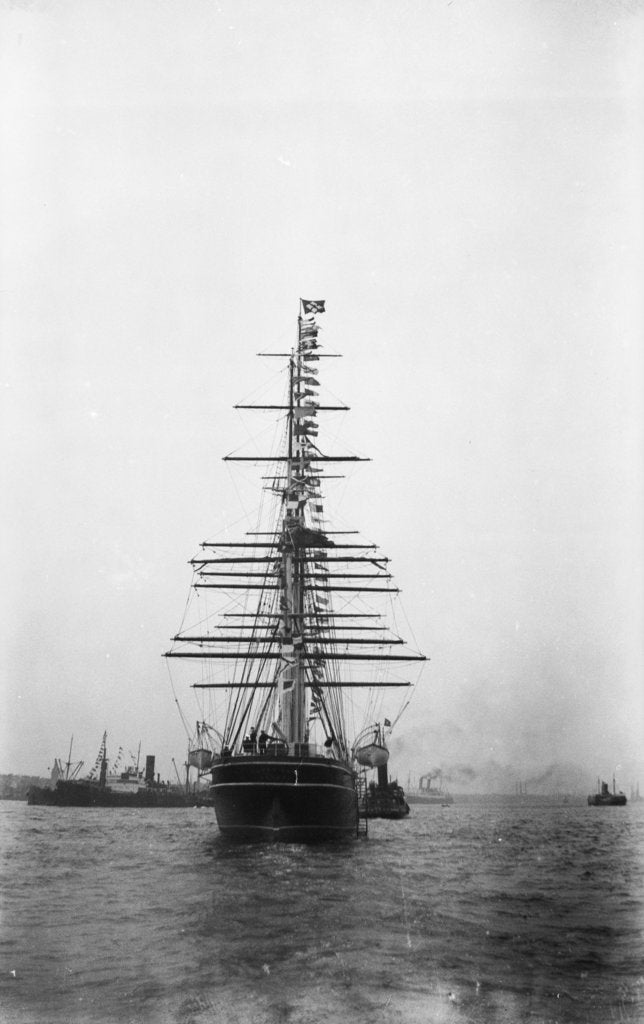 Detail of 'Cutty Sark' (1869) being towed by tug 'Muria' on the Thames by unknown