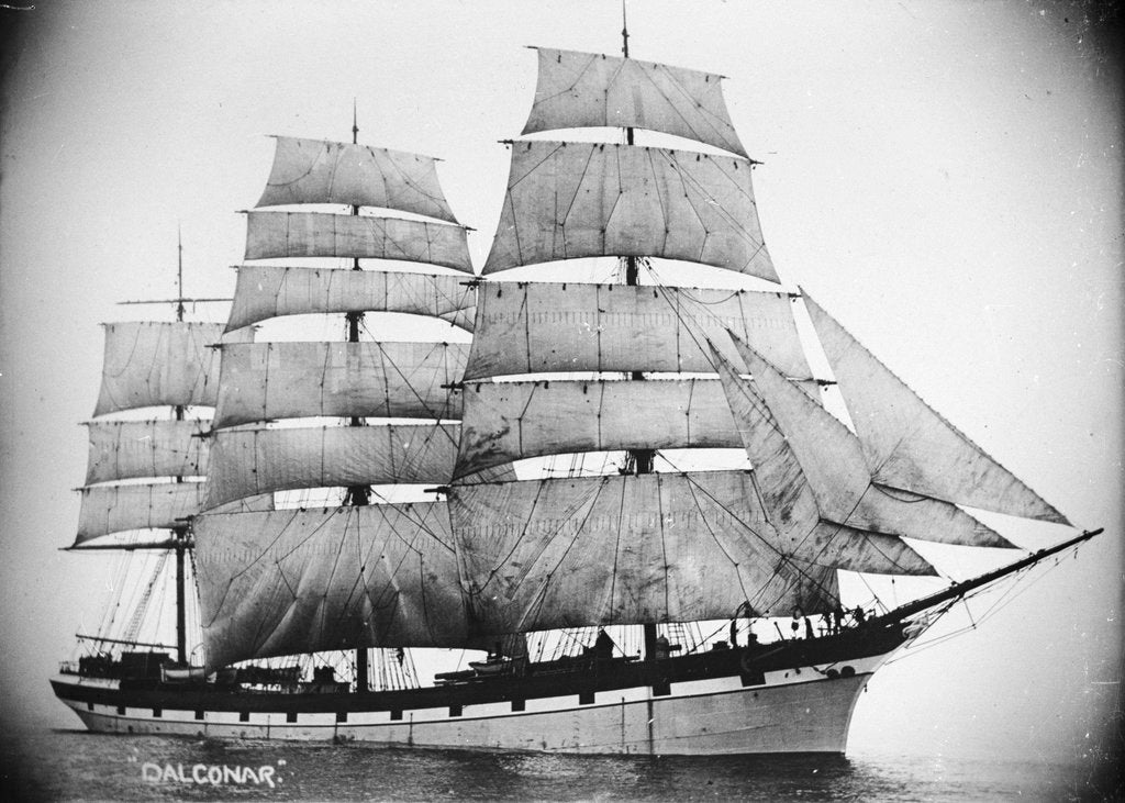 Detail of 'Dalgonar' (Br, 1892) under sail by unknown
