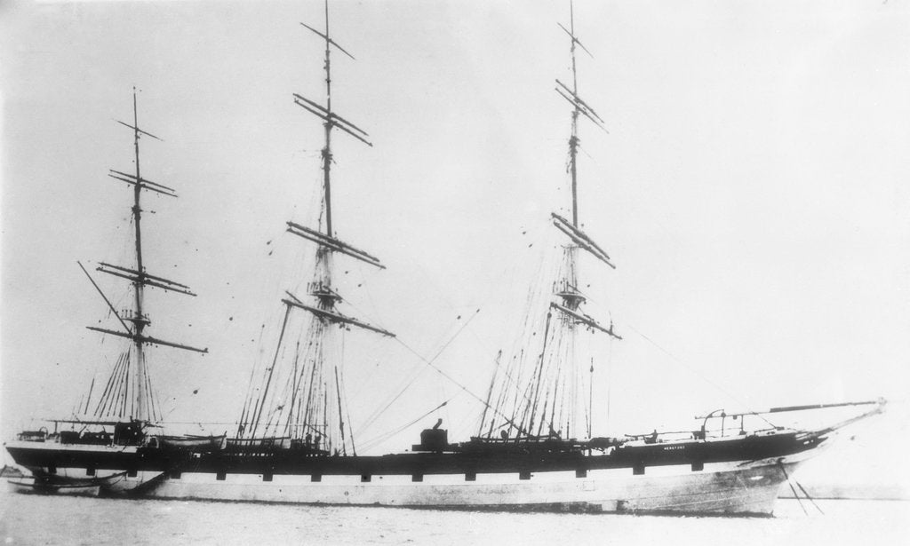 Detail of 'Hereford' (Br, 1869) at anchor by unknown