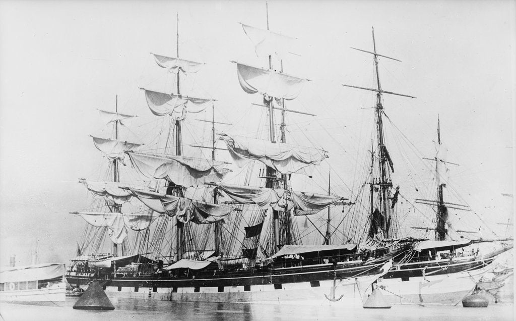 Detail of SS 'Jura' (Br, 1875) drying sails at Hastings Moorings, Calcutta, alongside 'Brenda' (Br, 1877). by unknown