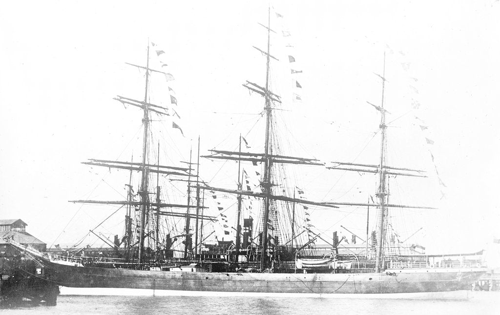 Detail of 3-masted ship 'Machranish' (Br, 1883), Hugh Hogarth & Sons, at quayside, dressed by unknown