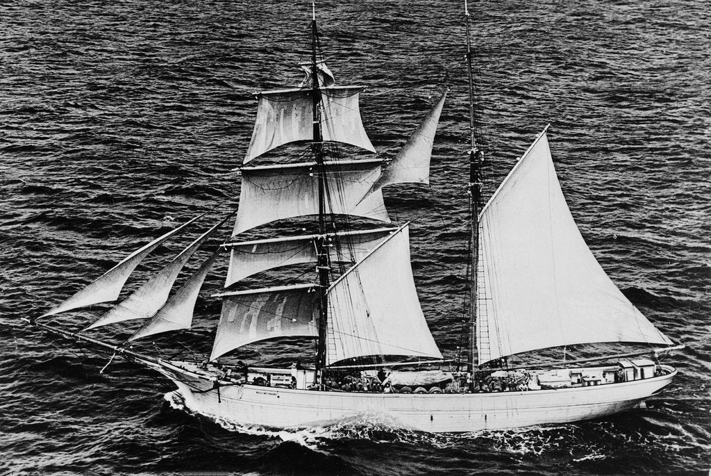 Detail of 'Massimo Padre' (Br, 1905), under sail off Malta by unknown