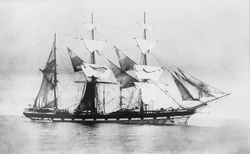 Detail of 'Parsee' (Br, 1868) at anchor, drying sails by unknown