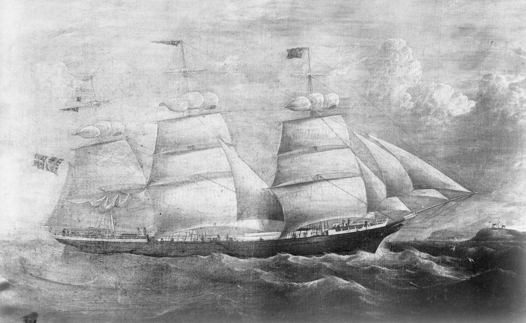 Detail of 'Rebus' (No, 1860), 3 masted ship, ex 'Queen of the Ocean', J  L Ugland by unknown