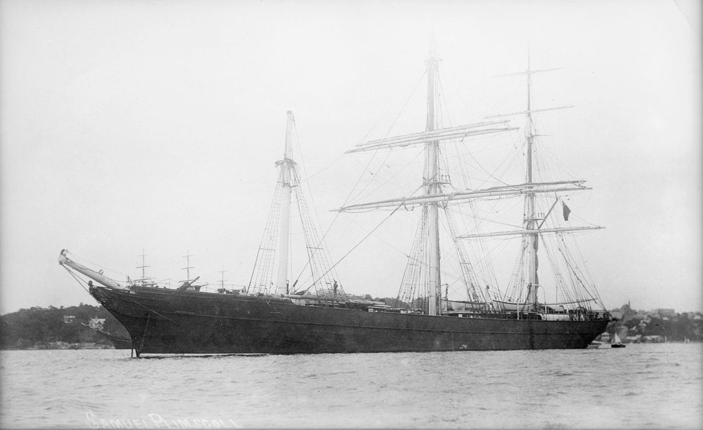 Detail of 'Samuel Plimsoll' (Br, 1873) at anchor by unknown