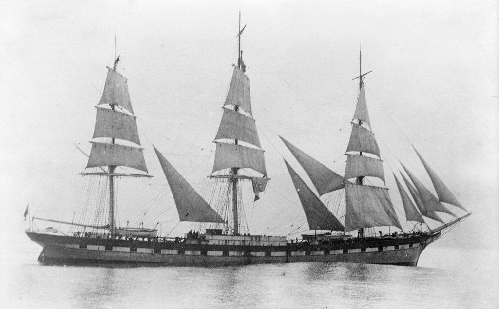 Detail of 'Toxteth' (Br, 1887) under sail by unknown