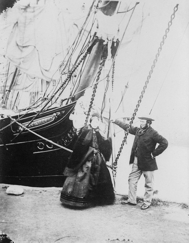 Detail of Photograph of John and Ann Gambles standing by the bow of the 'Ann Gambles' barque by unknown