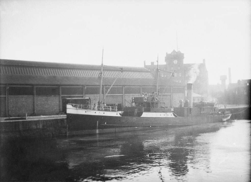 Detail of 'AMELIA' (Br, 1894) at quayside by unknown