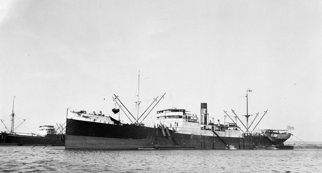 Detail of The 'Anna' (Gr, 1919) moored at Port Said by unknown