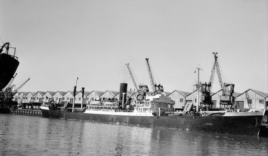 Detail of General cargo 'Empire Voice' (Br, 1940) at quayside at Cape Town by unknown