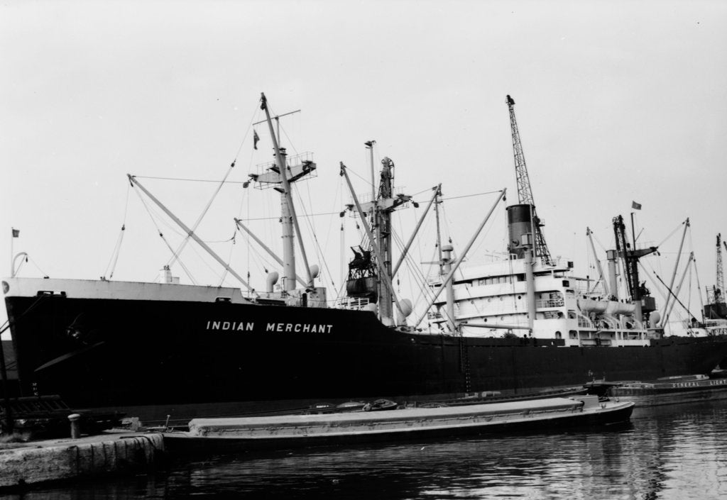 Detail of Victory type, general cargo ship 'Indian Merchant' (Br, 1944), ex 'Lewiston Victory' India S S Co Ltd by unknown
