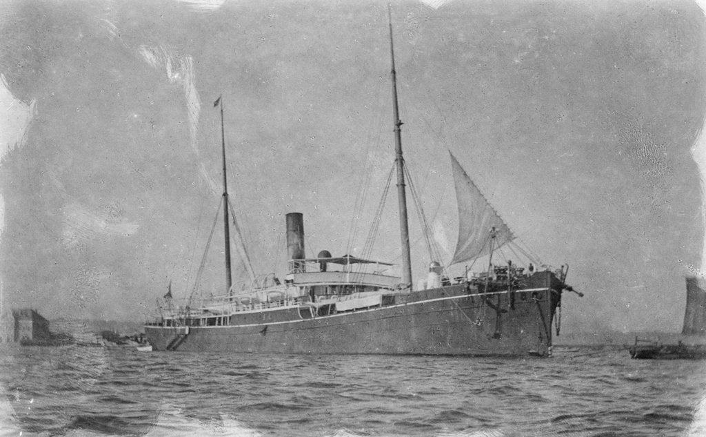 Detail of General cargo ship 'Tak Sang' (Br, 1892) Indo-China S.N. Co Ltd, at anchor by unknown