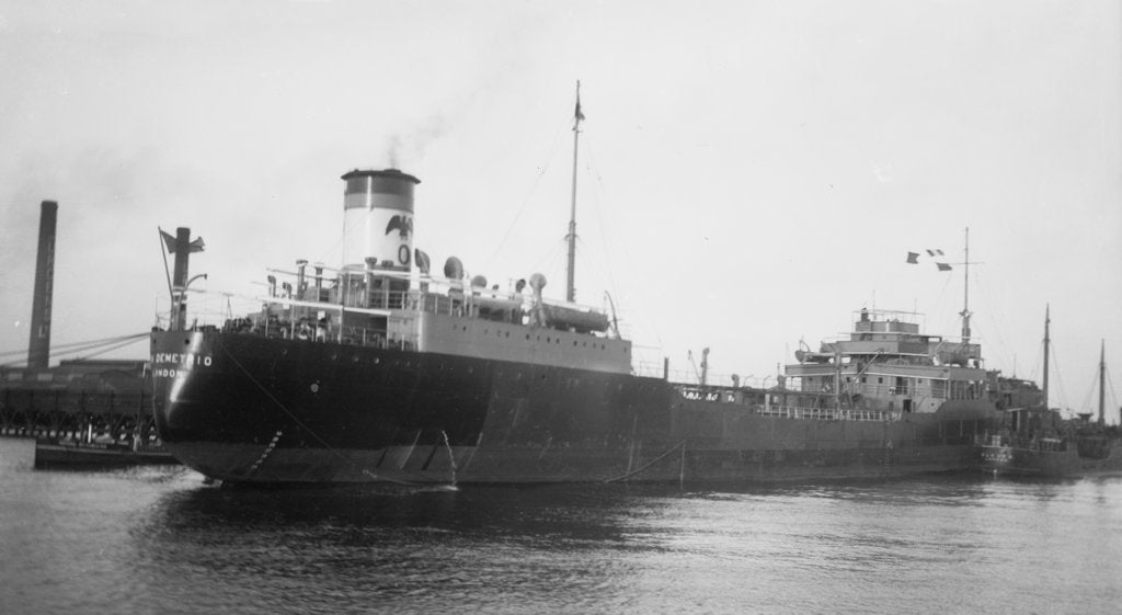 Detail of Tanker 'San Demetrio' (Br, 1938), Eagle Oil & Shipping Co Ltd, at jetty (Purfleet?) by unknown
