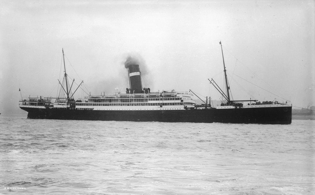 Detail of Passenger liner 'Victorian' (Br, 1904) under tow, Allan Line S S Co Ltd by unknown