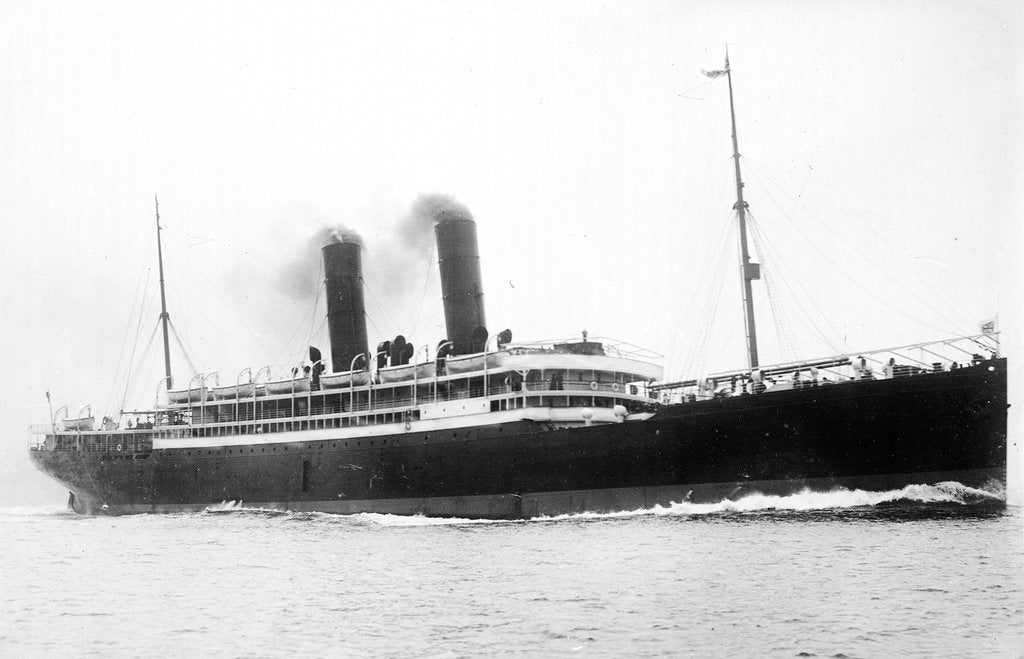 Detail of 'California' (Br, 1907) passenger liner, Anchor Line (Henderson Bros) Ltd., under way by unknown