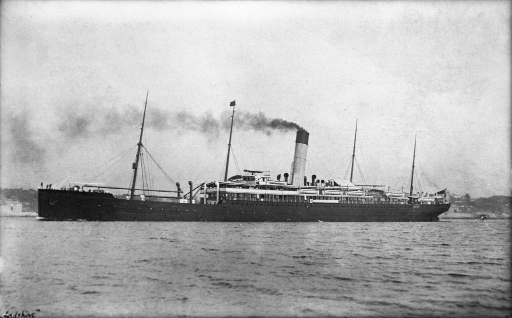 Detail of Photograph of the passenger liner 'Herefordshire' (1905) under way by unknown