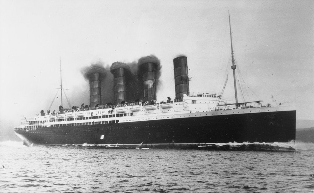 Detail of RMS 'Lusitania' (1906) under way by unknown