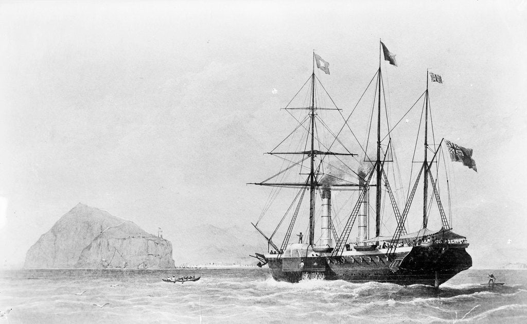 Detail of Passenger liner 'Bentinck' (1843) entering Aden by Huggins by Huggins