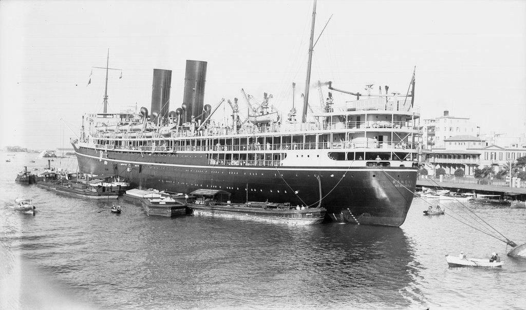Detail of 'Ranchi' (Br, 1925), at moorings, Port Said by unknown