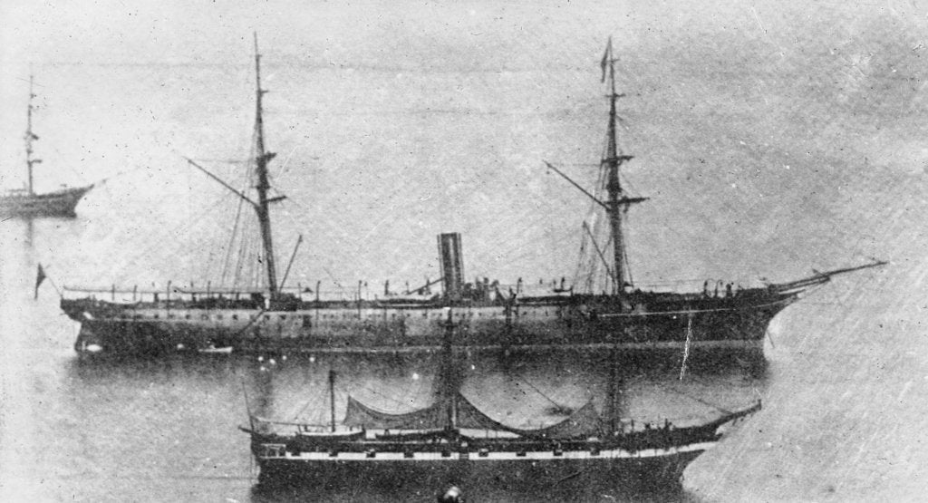 Detail of 'Rhone' (Br, 1865), passenger/cargo liner, at anchor by unknown
