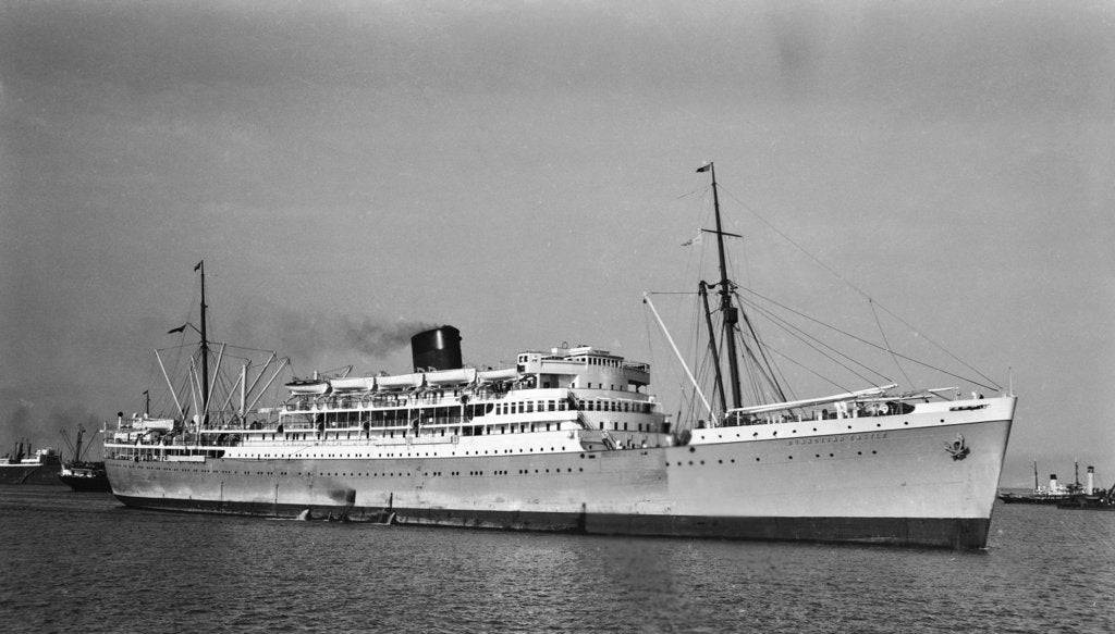 Detail of Passenger liner 'Dunnottar Castle' (Br, 1936), Union-Castle Mail S S Co. Ltd, under way at Beira by unknown