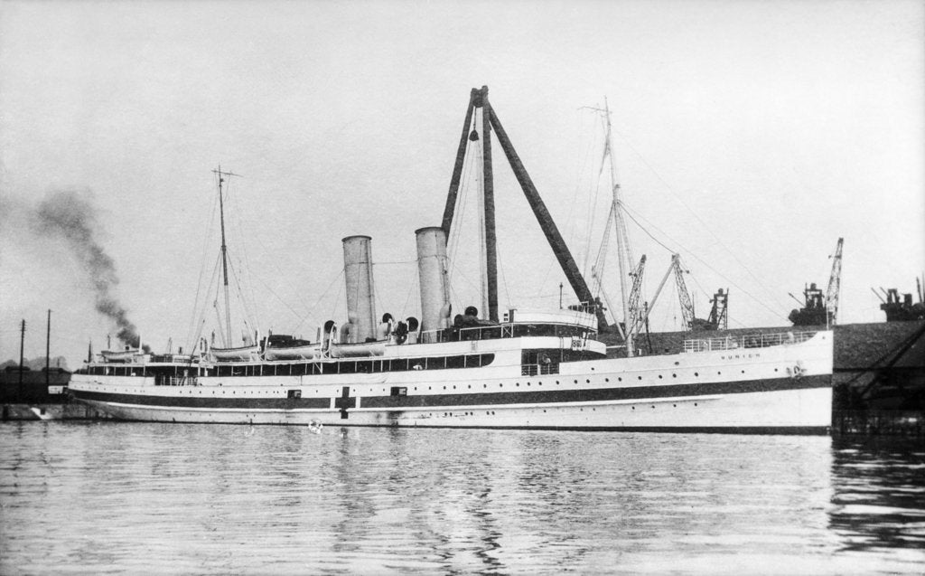 Detail of The cross channel turbine steamer 'Munich' (Br 1908) as a hospital ship at quayside, under sheerlegs by Anonymous