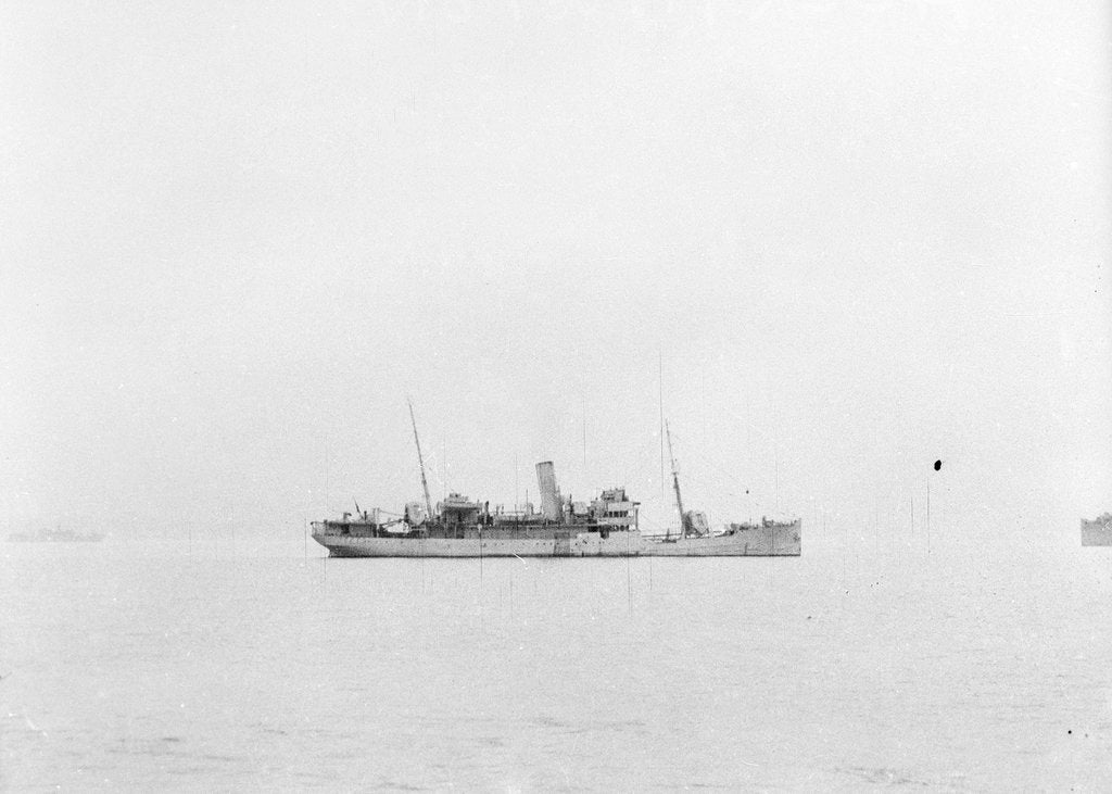 Detail of 'Accrington' (1910) at anchor as a convoy rescue ship, distant by unknown