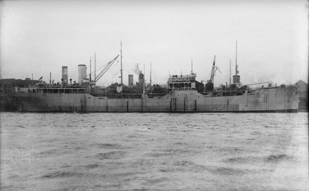 Detail of A starboard broadside view of the tanker 'British Prestige' (1931) lying in port, alongside other vessels by unknown