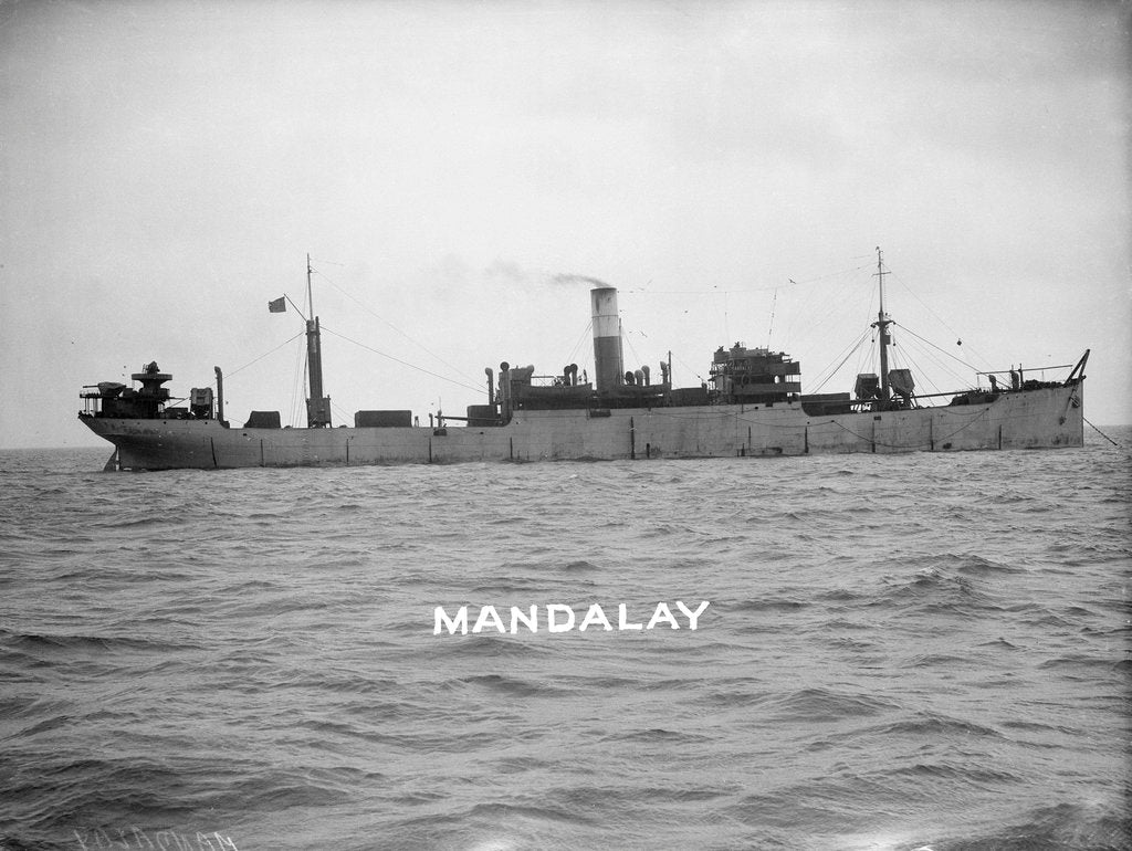 Detail of Cargo liner 'Mandalay' (Br, 1911) at anchor by unknown