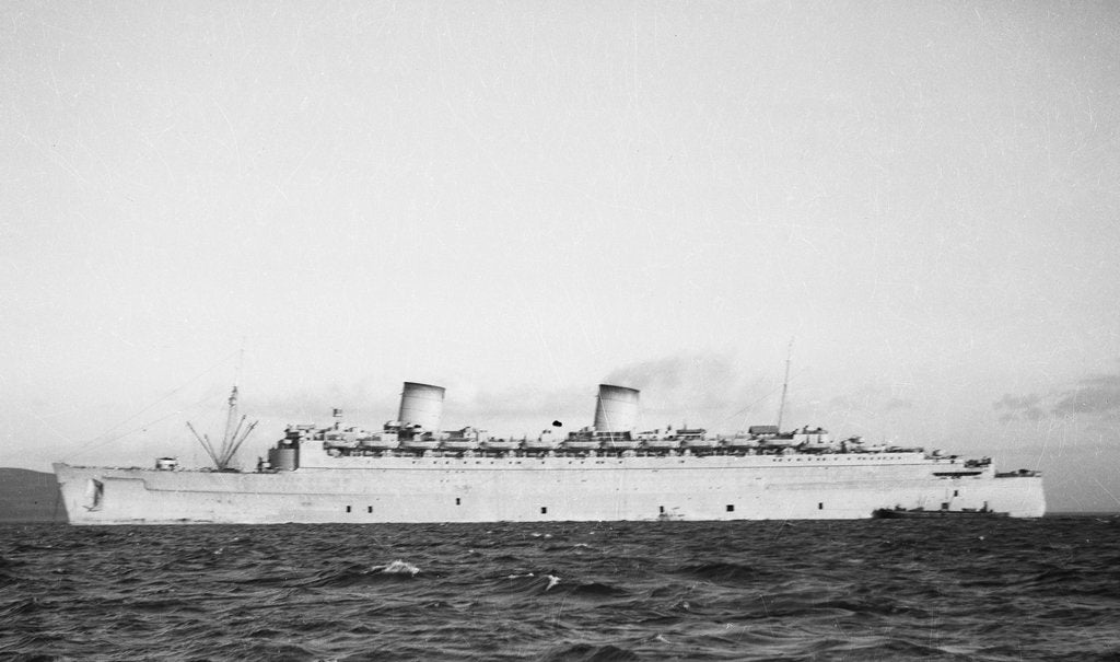 Detail of The 'Queen Elizabeth' (Br, 1940) at anchor, possibly in the River Clyde by unknown