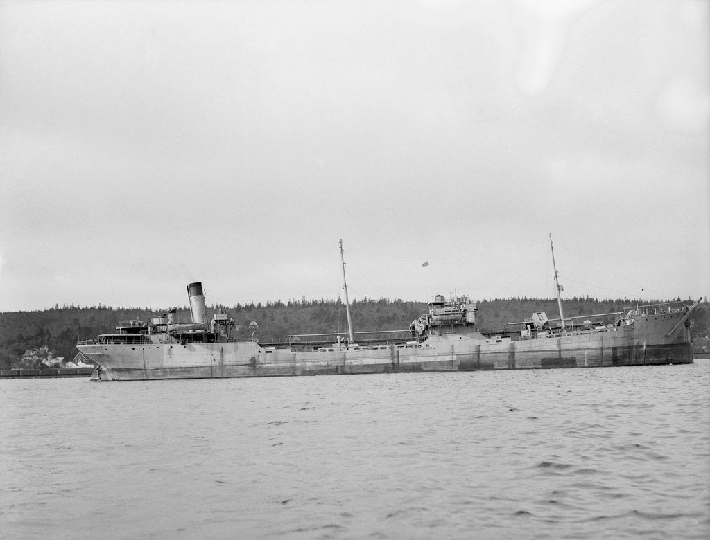 Detail of 'Shirvan' (Br, 1925) tanker, Baltic Trading Co Ltd, at anchor in Halifax, Nova Scotia by unknown