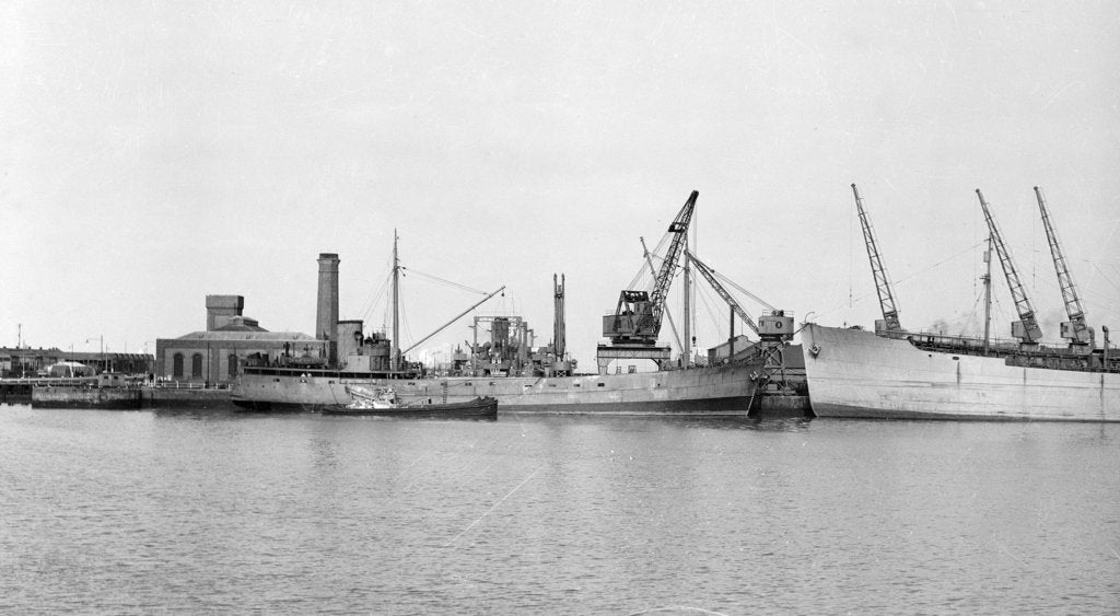Detail of General cargo, short sea, motor vessel 'Underwood' (1941) at quayside in Avonmouth by unknown