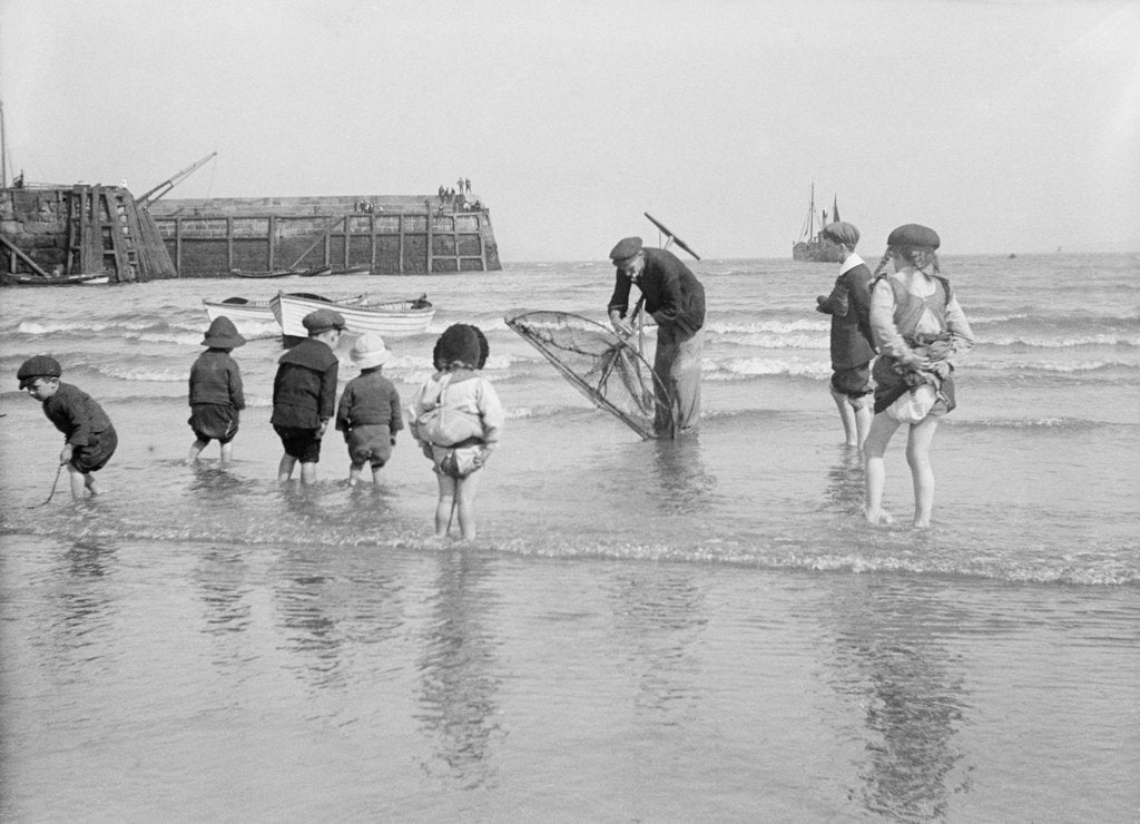 Detail of Boys and girls watch intently as a local fisherman wields his net in Scarborough, Yorkshire by Samuel Coupe Fox