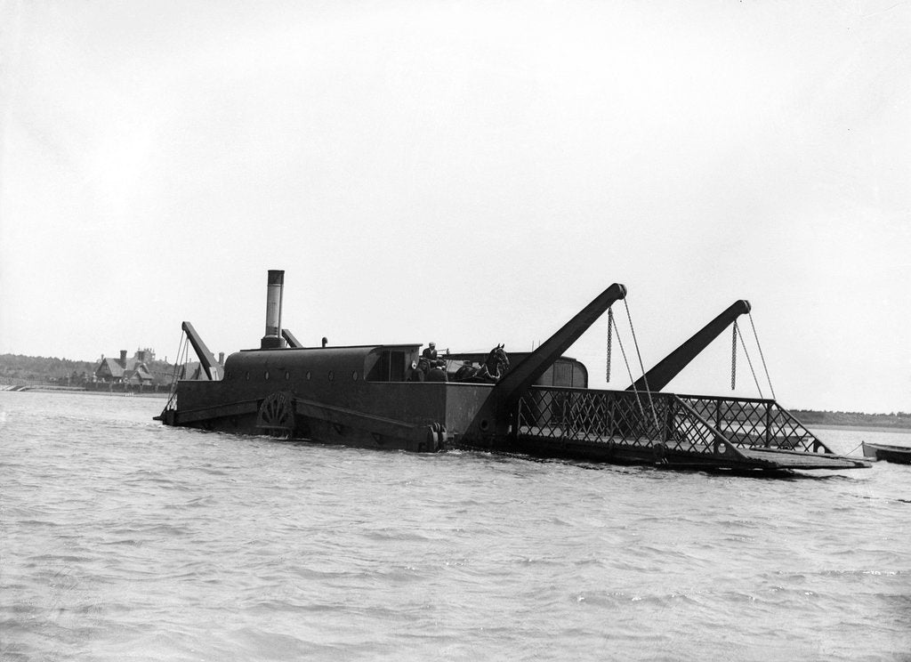 Detail of The steam chain ferry 'The Lady Beatrice' (1894) crossing the River Deben from Felixstowe to Bawdsey by Smiths Suitall Ltd.