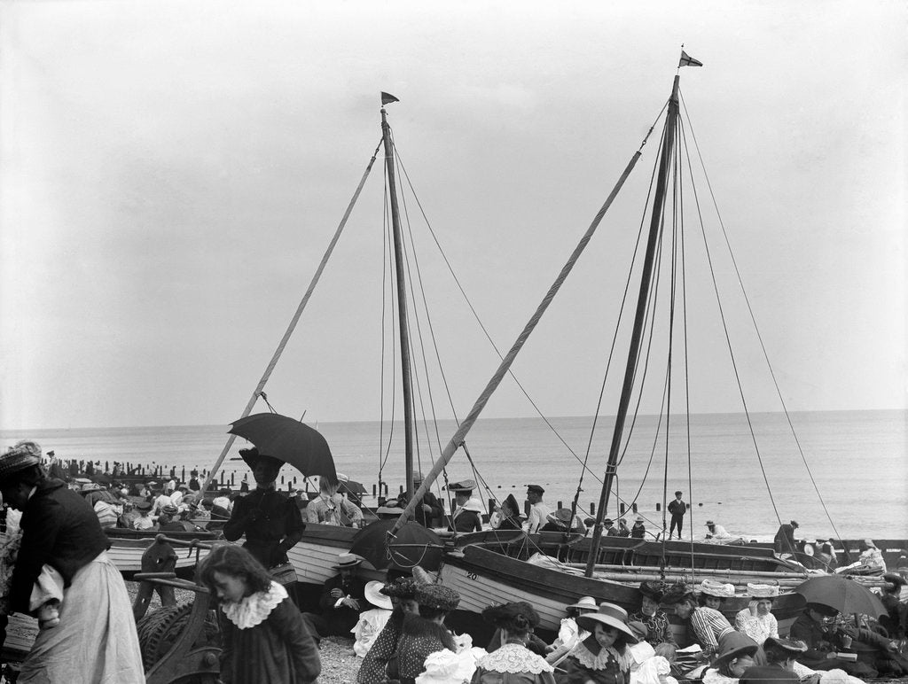Detail of The beach at Felixstowe on a Bank Holiday weekend by Smiths Suitall Ltd.