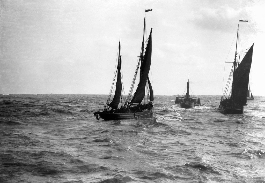 Detail of The dandy-rigged trawler 'Speranza' (1891) [LT431] under sail, with an unidentified trawler being towed by the paddle tug 'Imperial' (1879) at Lowestoft, Suffolk by Smiths Suitall Ltd.