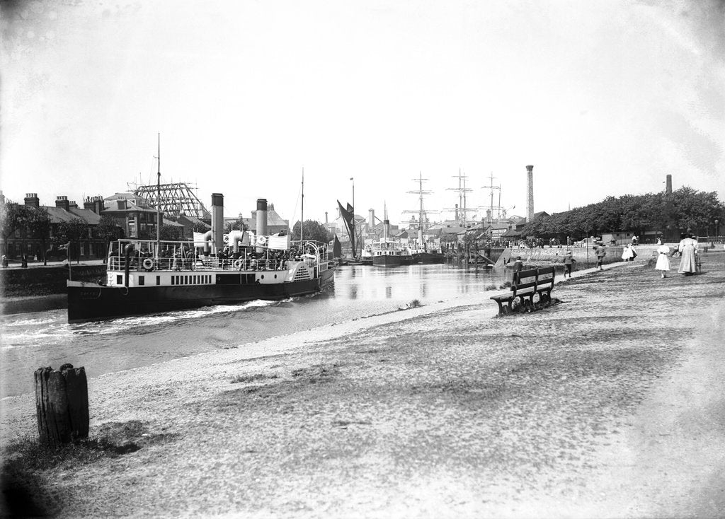 Detail of A view of The New Cut from the Promenade at Ipswich with the paddle steamer 'Suffolk' (1895) in bound approaching to her berth by Smiths Suitall Ltd.