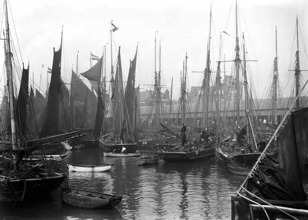 Detail of A view of trawlers in the basin at Lowestoft by Smiths Suitall Ltd.